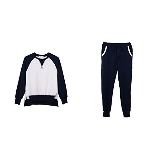 Pijamas de algodón puro conjunto de manga larga de la mujer de moda pantalones largos Inicio ropa Ropa deportiva ( Color : Azul , Tamaño : L ) Azul