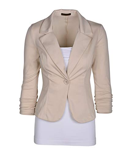 Auliné Collection Women's Casual Work Solid Color Knit Blazer Cappuccino Medium