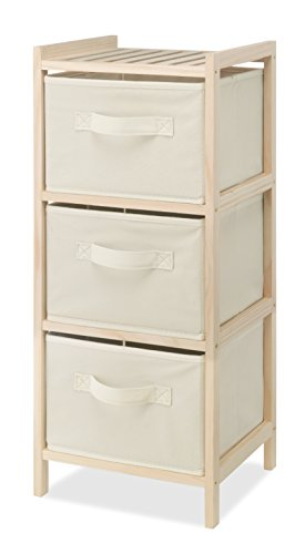 (Whitmor 3 Drawer Wood Chest - Compact Design - Pull Out Fabric Bins - Natural Pine)