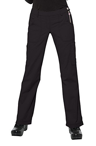 Ladies Flat Front Scrub Pants (KOI Classics Women's Sara Flat Front Flared Scrub Pants Small Black)