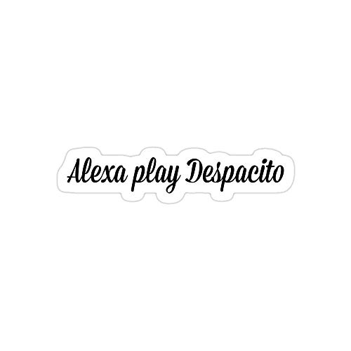 Jess-Sha Store 3 PCs Stickers Alexa Play Despacito Sticker for Laptop, Phone, Cars, Vinyl Funny Stickers Decal for Laptops, Guitar, Fridge