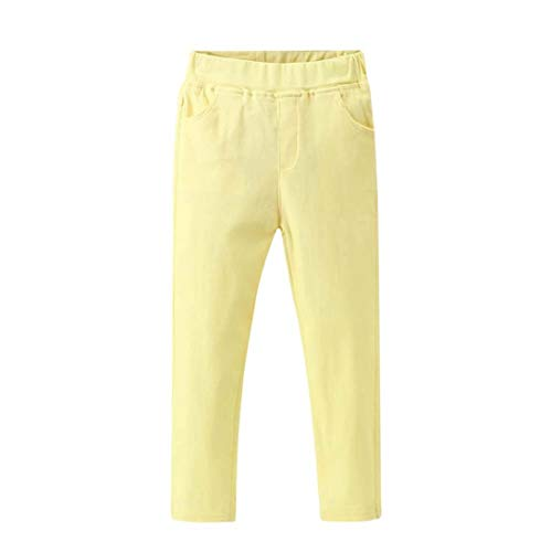 (2-6T Toddler Baby Boys Girls Soft Cotton Leggings, Candy Solid Color Stretch Trousers Denim Style Skinny Pants Pockets (Yellow, 24 Months))