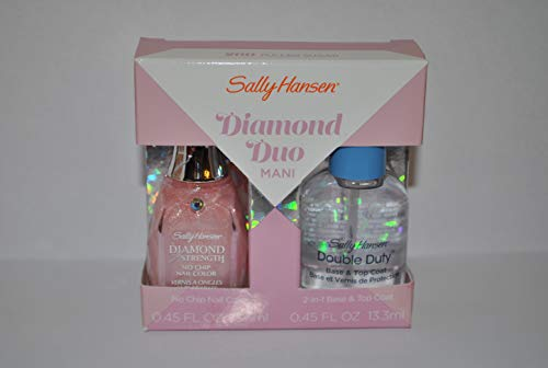 Sally Hansen Diamond Duo Mani - 260 Pulled Sugar Diamond Stregth Nail Color + Double Duty Base & Top Coat -