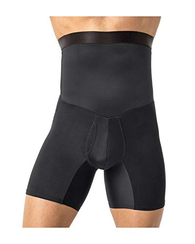 Leo Mens High Waist Slimming Tummy Abs Shaper with Boxer Brief,Black,XX-Large