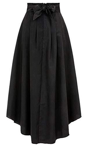 Bodycon4U Women's High Slits Bow Tie Summer Beach High Waist Shirring Maxi Skirt Pockets Black M by Bodycon4U (Image #5)