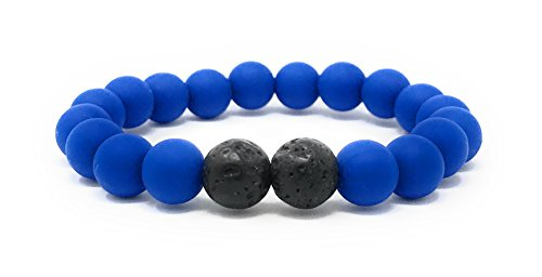 Leboha Kids Collection Kid Essential Oil Bracelet, Silicone Beads with Lava, 6 (Blue)