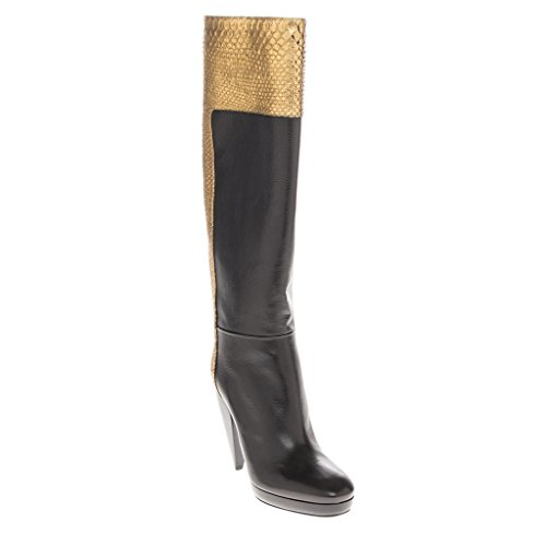 LANVIN Women's Metallic Python & Knee-High Boots Leather Black + Gold EU 37 (US (Metallic Leather Knee Boot)