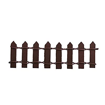 Potelin Wooden Miniature Garden Picket Fence Flower Pot Plant Decoration 10 x 3cm (Coffee)
