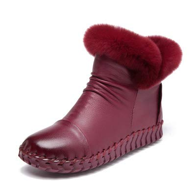 Wine Red Fumak  Handmade Women's Winter Boots Women Real Fur Winter shoes Woman Genuine Leather Warm Ankle Snow Boots women Chaussure