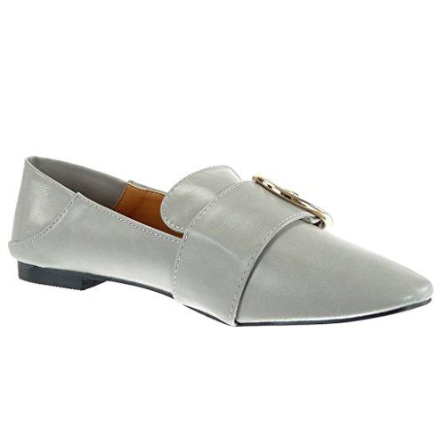 Heel golden CM Women's Fashion 1 Angkorly Grey Block slip on buckle Shoes Mocassins xzHWSfqwA
