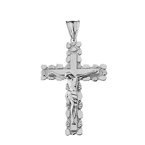 Fine Sterling Silver Nugget Crucifix Cross Pendant (2.6