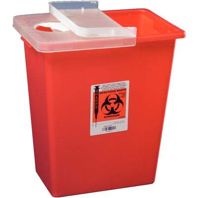 Sharps Container 8gal 1 Piece Plastic Adjustable Sliding Lid Nestable Handles Non-Sterile Not Made with Natural Rubber Latex Disposable Red Each