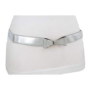 Women Elastic Hip High Waist Narrow Dressy Belt Silver Metal Bow Tie Buckle S M