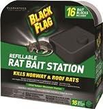 SPECTRUM HG-11057 BLACK FLAG REFILLABLE RAT BAIT STATION PACK OF 16 BAIT STATIONS (6 PACKS)