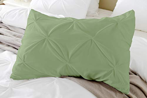 Crown Collection Pinch Plated/Pintuck Pillow Shams Set of 2pcs - Luxury 600-TC 100% Egyptian Cotton Cushion Cover Euro Size Decorative Pillow Cover European Pillow Sham (Larg King 20''x 40'', Moss) (40 Crown Collection)