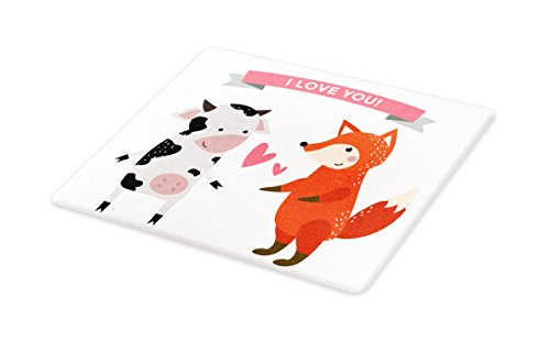 Lunarable Animals Cutting Board, Cow and Fox Hunter and Livestock Love Story Relationship Wild Danger, Decorative Tempered Glass Cutting and Serving Board, Large Size, Black White Dark Orange by Lunarable