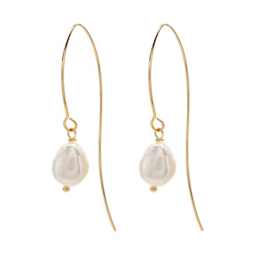 ODLADM Curved Threader Earrings for Women Girls Lightweight Fish Wire Needle Gold Drop Dangle Pearl Earrings (Gold) ()