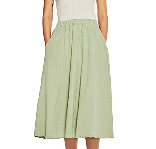 Femme Jupes Pliss Rtro Jupe Longue Elegant Taille Haute Elastique A-Line Midi Jupe Vert