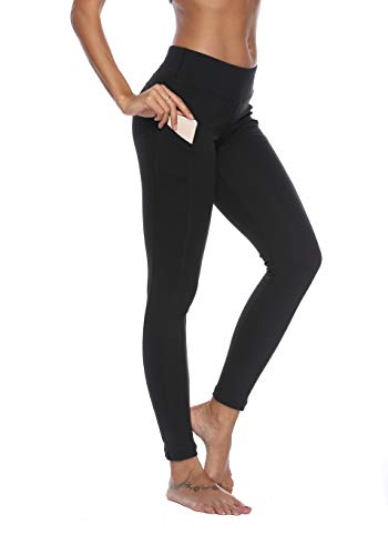 Sweatish Yoga Leggings Tights with Out Pockets Tummy Control Workout Pants 4 Way Stretch Essential Leggings Black