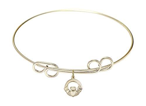 d Double Loop Bangle Bracelet with a Claddagh charm.-- (8 Inch Claddagh Bracelet)
