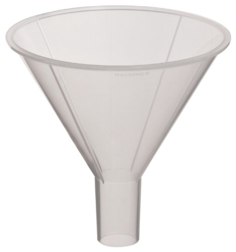 Nalgene 4252-0100 Polypropylene Round Powder Funnel, 243mL Capacity, 104mm Top ID (Pack of 6)