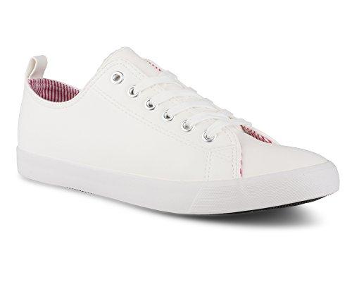 Twisted Women's Low Top Faux Leather Sneaker -KIXLO187 White, Size 9