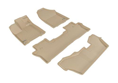 3D MAXpider Complete Set Custom Fit All-Weather Floor Mat for Select Honda Pilot Models - Kagu Rubber (Tan)