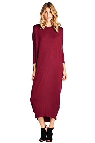 2X Maxi in Burgundy Made USA Sleeve 12 S Up Solid Dress Long Cover Ami xwOxfCPqYz