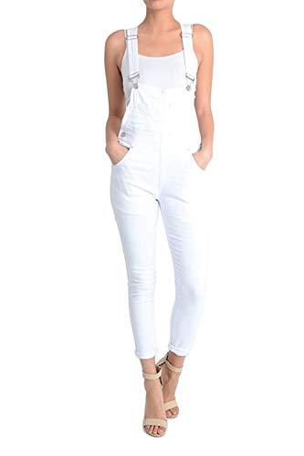 Instar Mode Women's Women's Solid Color Skinny Overalls White M ()