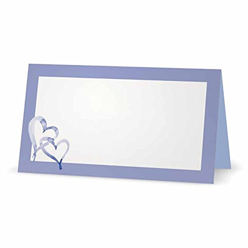 Hearts on Lilac and Blue Place Cards - TENT STYLE - 10 PACK - White Blank Front with Solid Color Border - Placement Table Name Seating Stationery Party Supplies - Occasion or Dinner Event (Holder Place Card White Heart)