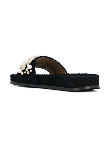 AQUAZZURA Femme BNBFLAS0SPU000 Noir Coton Sandales