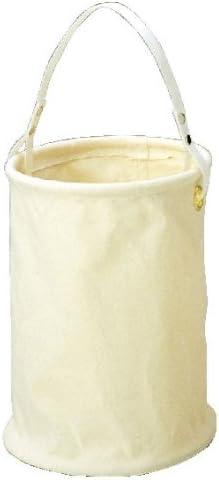 コヅチ(KOZUCHI) 9号帆布 底板付電工用バケツ ホワイト 直径24×高さ31.5cm 底鋲付 KB-20-24 W