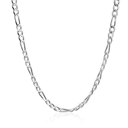 lver 4mm Figaro Chain Italian Necklace 16'' 18'' 20'' ()