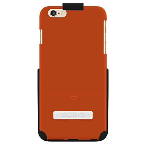 (Seidio SURFACE Case with Metal Kickstand and Holster Combo for Apple iPhone 6 Plus - Retail Packaging - Orange )