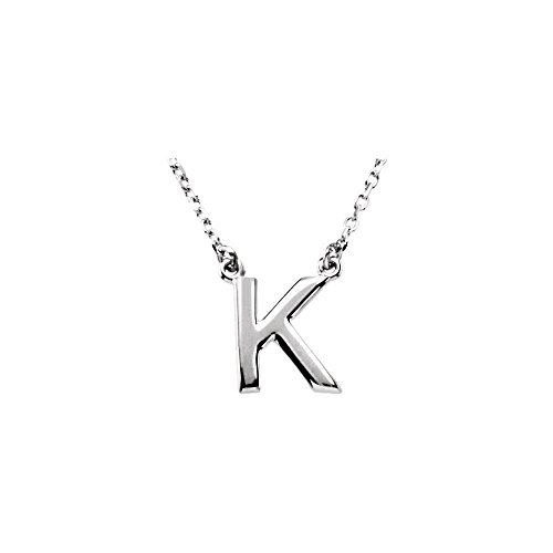 Sterling-silver 16 Block Initial Necklace
