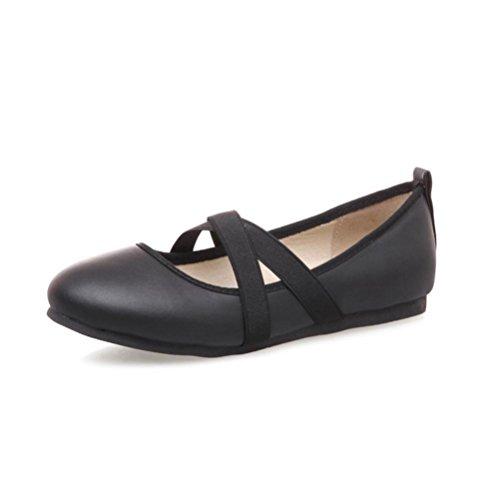 QPYC Zapatos de mujer Boca baja Talón plano Empeine Banda elástica Código de tamaño de estudiante diario 33-44 Zapatos solos de primavera y verano black
