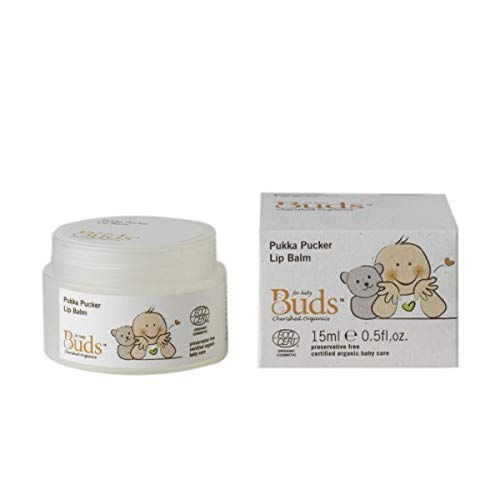 BUDS Pukka Pucker Lip Balm 15ml Healthy Amount on Baby's Lips and Ensure The Area Where The Lips and The Skin on The face Join is Properly Protected by BUDS