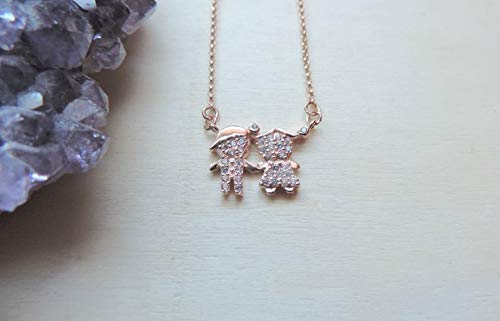 a5fd1d10e Boy and Girl Cubic Zirconia Crystals Necklace • Couples, Best Friends,  Siblings Kids,