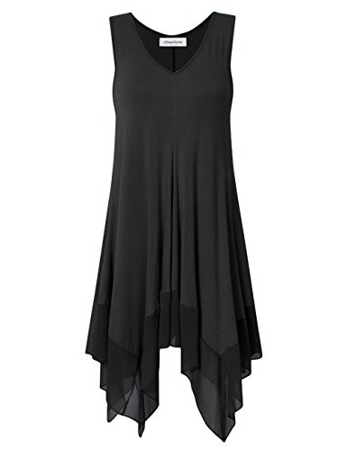 Clearlove Womens Sleeveless Plus Size Blousees Chiffon Stitched Loose Tunic Cami Tank Tops Black 6XL