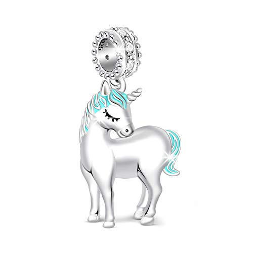 Silver Unicorn Charm Sterling - GNOCE 925 Sterling Silver Charms for Women's Bracelets Unicorn Charm Fits All Major Brands of Bracelet Women Men Gifts Most US and European Bracelets and Necklaces - Silver