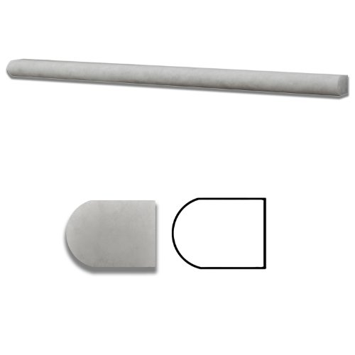 Crystal White Marble Honed 1/2 X 12 Pencil Liner Trim Molding - Standard Quality - BOX of 15 PCS.