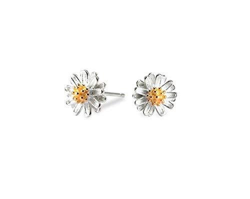 81b08e6f9b22 Daisy Earrings Studs 925 Sterling Silver Light Weight Elegant Small  Earrings Jewelry for Girls Women (