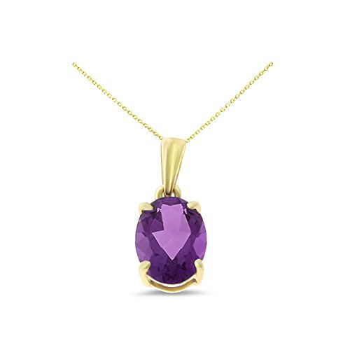 14K Yellow Gold 6 x 8 mm. Oval Shaped Genuine Natural Amethyst Pendant With Square Rolo Chain (Gold Amethyst Chain)