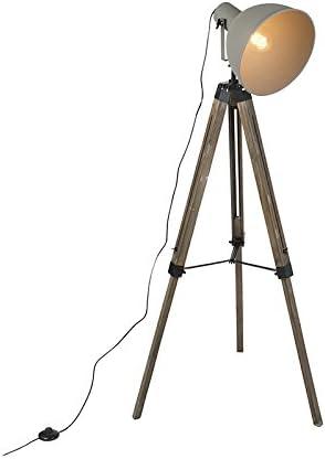 QAZQA Lámpara de pie industrial sobre trípode de madera con ...