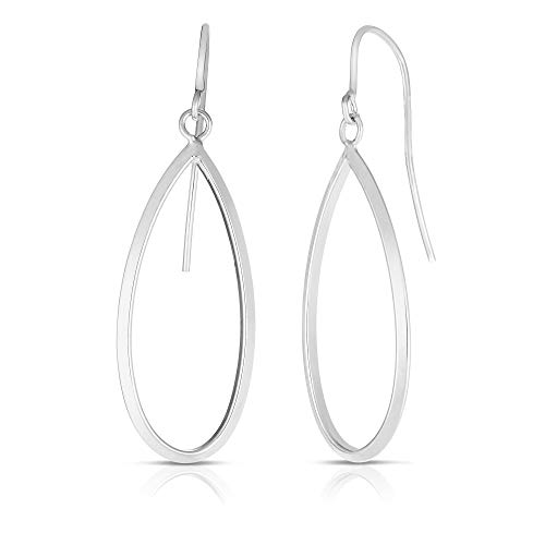 14K White Gold Finish 13x41mm Shiny Tear Drop Fancy Earrings with Euro Wire