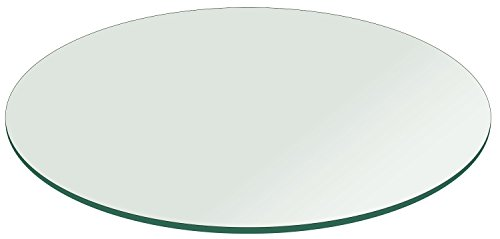Fab Glass and Mirror 28RT6THFPTE 28 Inch Round 1/4 Inch Thick Flat Polish Tempered Glass Table Top, Clear