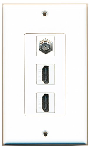 RiteAV - 2 HDMI and 1 Coax Cable TV F Type Port Wall Plate W