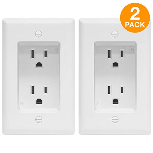 (TOPGREENER Recessed Duplex Receptacle Outlet, Tamper-Resistant, Size 1-Gang 4.48