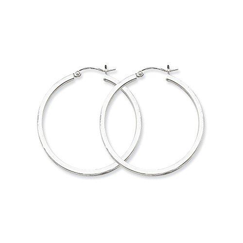 Sterling Silver 2mm Square Tube Hoop Earrings (1.5 in x 1.42 in)