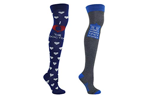 Doctor Who Socks Merchandise - Dr Who Over Knee Tardis Dalek - Fits Shoe Size: 4-10 (Ladies) -